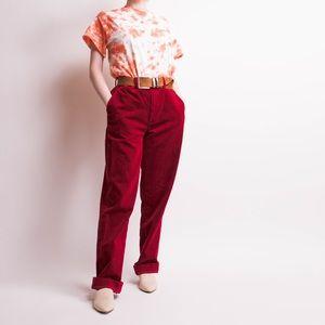 Vintage 90s red corduroy mid rise trouser pants